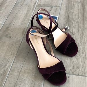 NWT Burgundy velour double ankle strap wedge